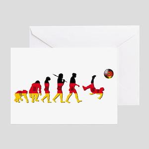 German Football Evolution Greeting Cards