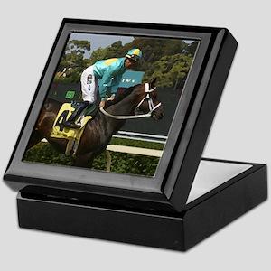 jockey and horse #4 tile on keepsake box