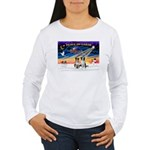 XmasSunrise/2 Border Collies Women's Long Sleeve T