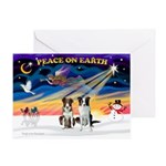 XmasSunrise/2 Border Collies Greeting Card