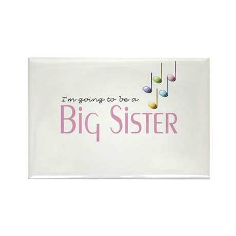 Music Notes Big Sister Rectangle Magnet