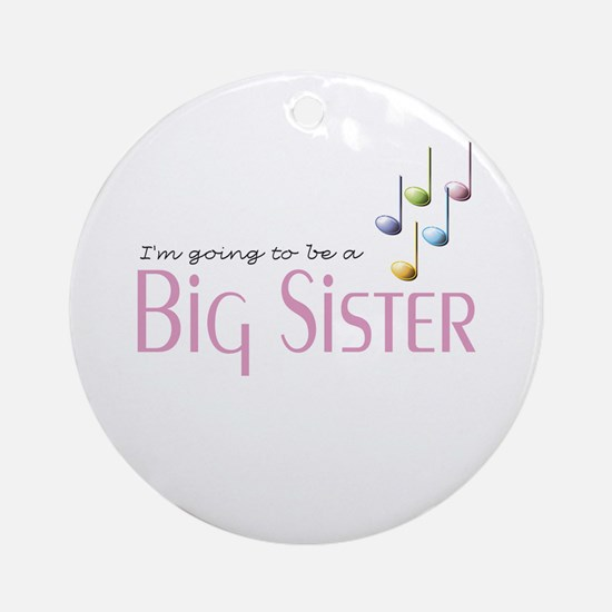 Music Notes Big Sister Ornament (Round)