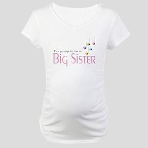 Music Notes Big Sister Maternity T-Shirt