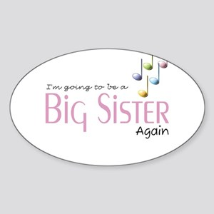 Music Notes Big Sister Again Oval Sticker