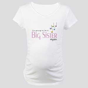 Music Notes Big Sister Again Maternity T-Shirt