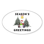 Christmas Greetings Oval Sticker (10 pk)