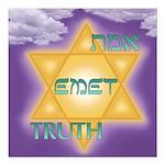 "Temple Emet Square Car Magnet 3"" X 3"""