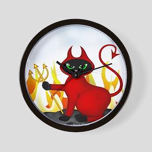 Devil Black Cat & Flames Wall Clock