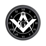 Masonic Black Wall Clock