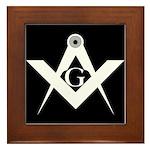 Masonic Black & White Framed Tile