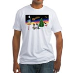 XmasSigns/2 Border Collies Fitted T-Shirt