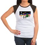 XmasSigns/2 Border Collies Women's Cap Sleeve T-Sh