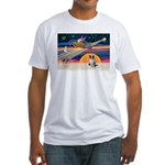 XmasStar/Border Collie Fitted T-Shirt