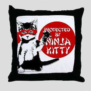 Ninja Kitty! Throw Pillow