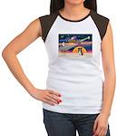 XmasStar/Border Collie #4 Women's Cap Sleeve T-Shi