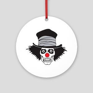 Evil Clown Skull In Top Hat Round Ornament