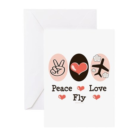 Peace Love Fly Pilot Greeting Cards (Pk of 10)