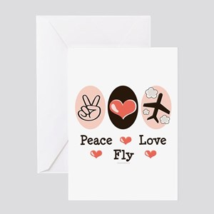 Peace Love Fly Pilot Greeting Card