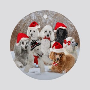 POODLE CHRISTMAS SCENE Ornament (Round)