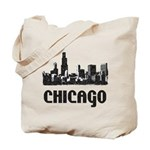 Chicago Skyline Vintage Reusable Canvas Tote Bag