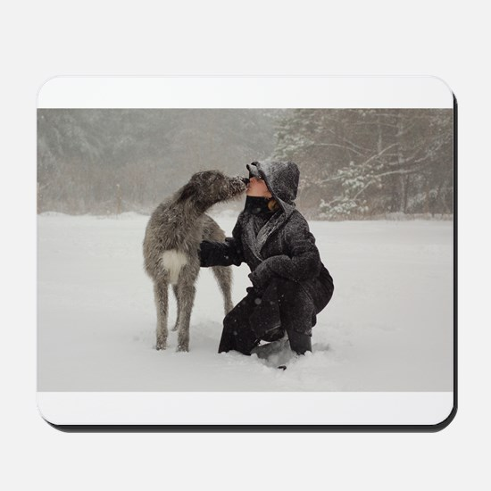 Irish Wolfhound Kissing Girl Mousepad