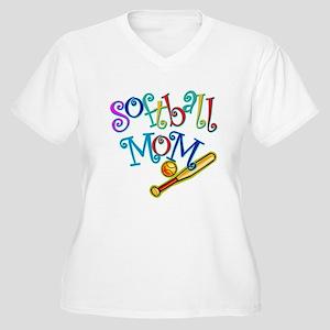 Softball Mom II Women's Plus Size V-Neck T-Shirt