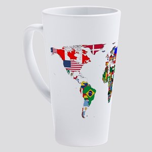 World Map With Flags 17 oz Latte Mug