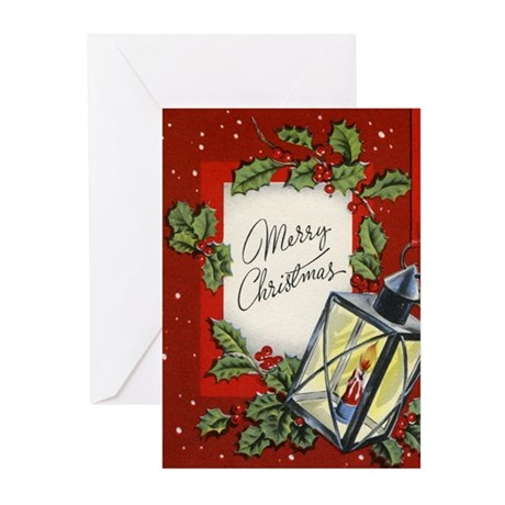 Vintage Holly Leaves Christmas Cards (Pk of 10)