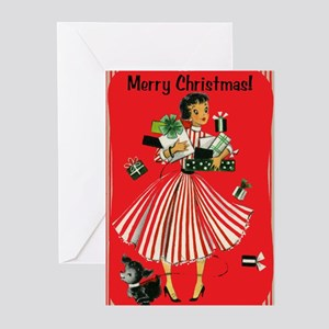 vintage shopping lady christmas cards pkg of 10 - Vintage Christmas Gifts