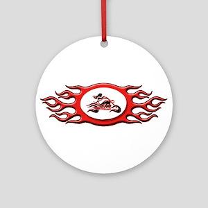 Biker Chick - Red Ornament (Round)