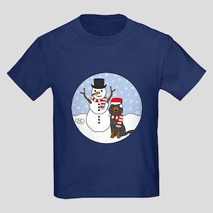 Gordon Setter Winter Kids Dark T-Shirt