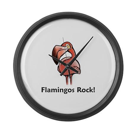 Flamingos Rock! Large Wall Clock