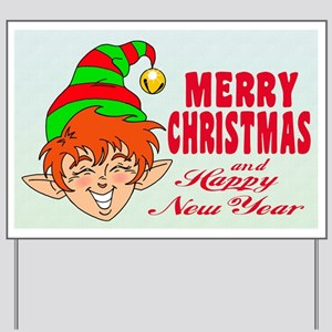 Merry Christmas Elf Yard Sign