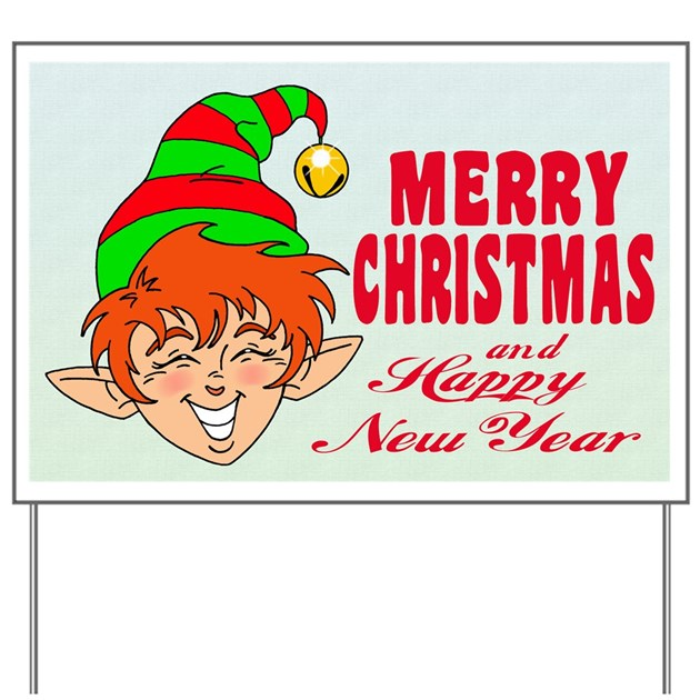 Merry christmas elf yard sign by groundhog2 for Outdoor christmas signs