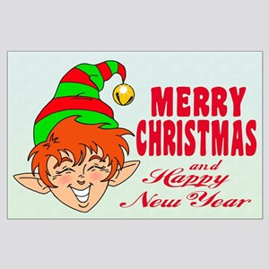 Merry Christmas Elf Large Poster