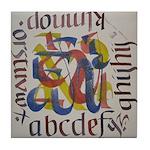 Tile Coaster brush calligraphy