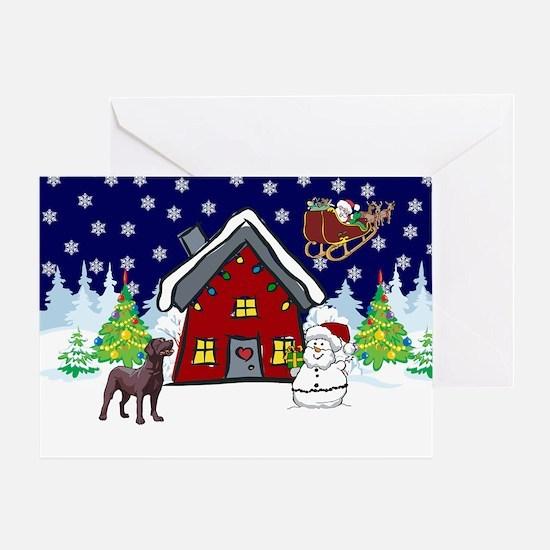 Cute Chocolate Lab Christmas Greeting Card