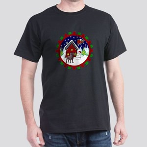 Cute Chocolate Lab Christmas Dark T-Shirt