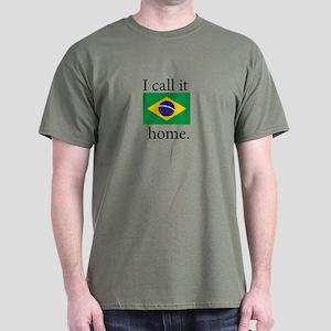 I Call It Home (Brazil Flag) Dark T-Shirt