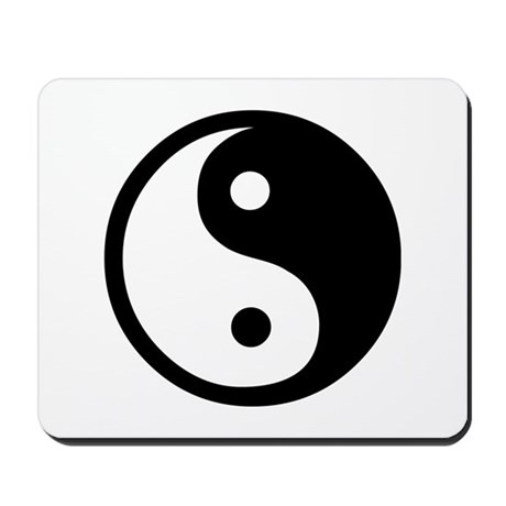 Black and White Yin Yang Bala Mousepad