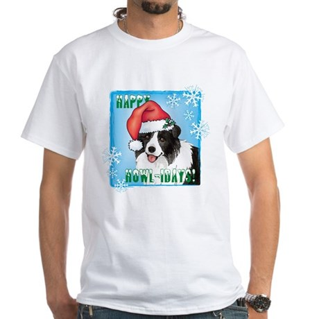 Holiday Border Collie White T-Shirt