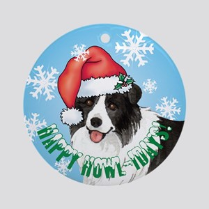 Holiday Border Collie Ornament (Round)