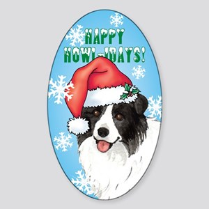 Holiday Border Collie Oval Sticker