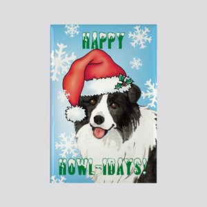 Holiday Border Collie Rectangle Magnet