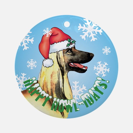 Holiday Afghan Hound Ornament (Round)