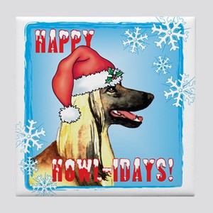 Holiday Afghan Hound Tile Coaster