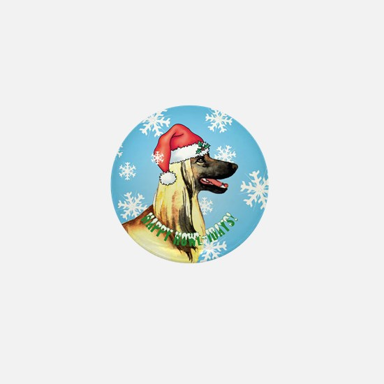 Holiday Afghan Hound Mini Button