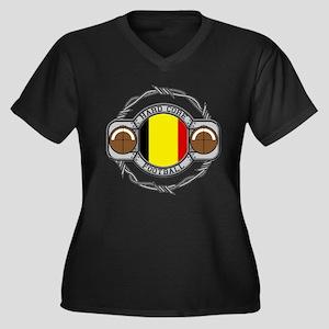 Belgium Football Women's Plus Size V-Neck Dark T-S