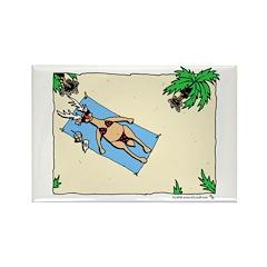 Sunbathing Reindeer Rectangle Magnet (10 pack)
