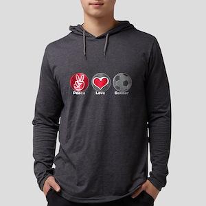 Peace Love Soccer Mens Hooded Shirt
